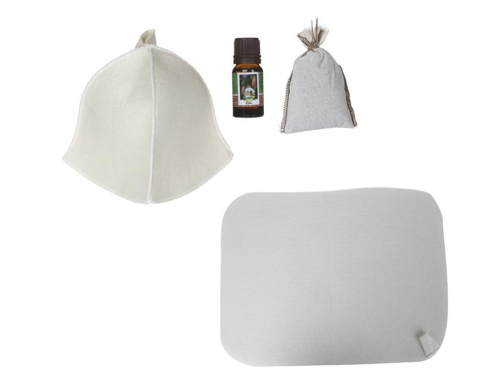 Набор для бани Бацькина баня Для души: шапка, коврик из войлока, запарка и эфирное масло 18027