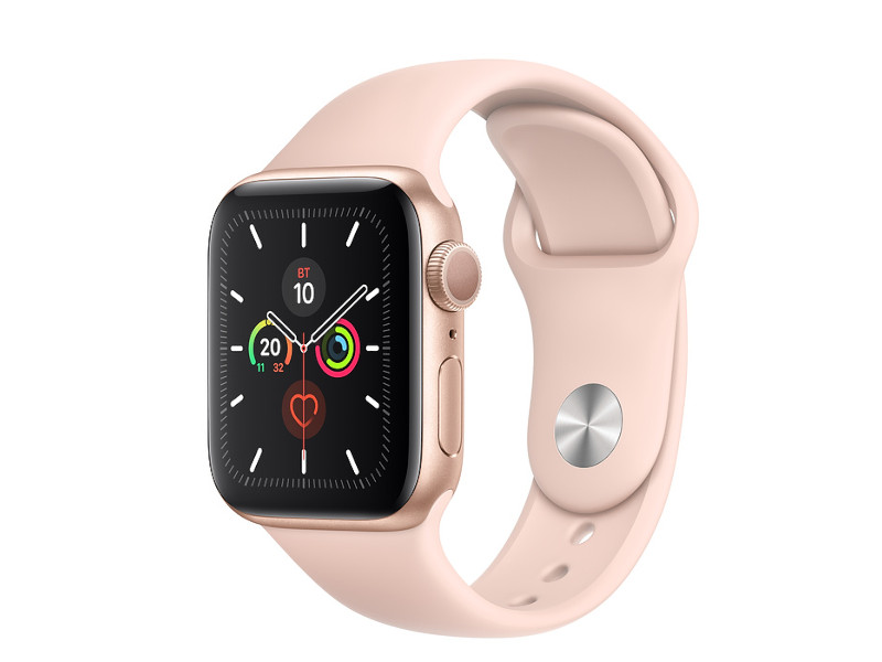 Умные часы APPLE Watch Series 5 40mm Gold Aluminium with Pink Sand Sport Band MWV72RU/A Выгодный набор + серт. 200Р!!! умные часы сanyon cns sw75pp 1 22inches ips full touch screen aluminium plastic body ip68 waterproof multi sport mode with swimming mode compatibility with ios and android pink