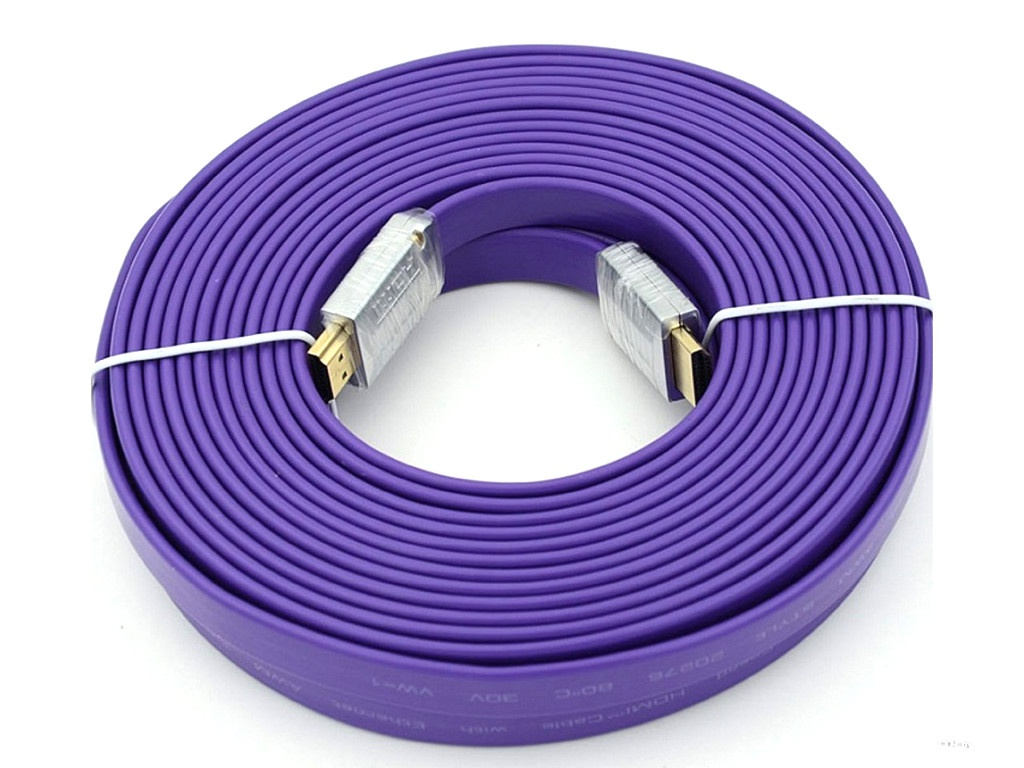 Аксессуар Behpex Flat HDMI 19pin M - Ver1.4 Purple Jack 10m