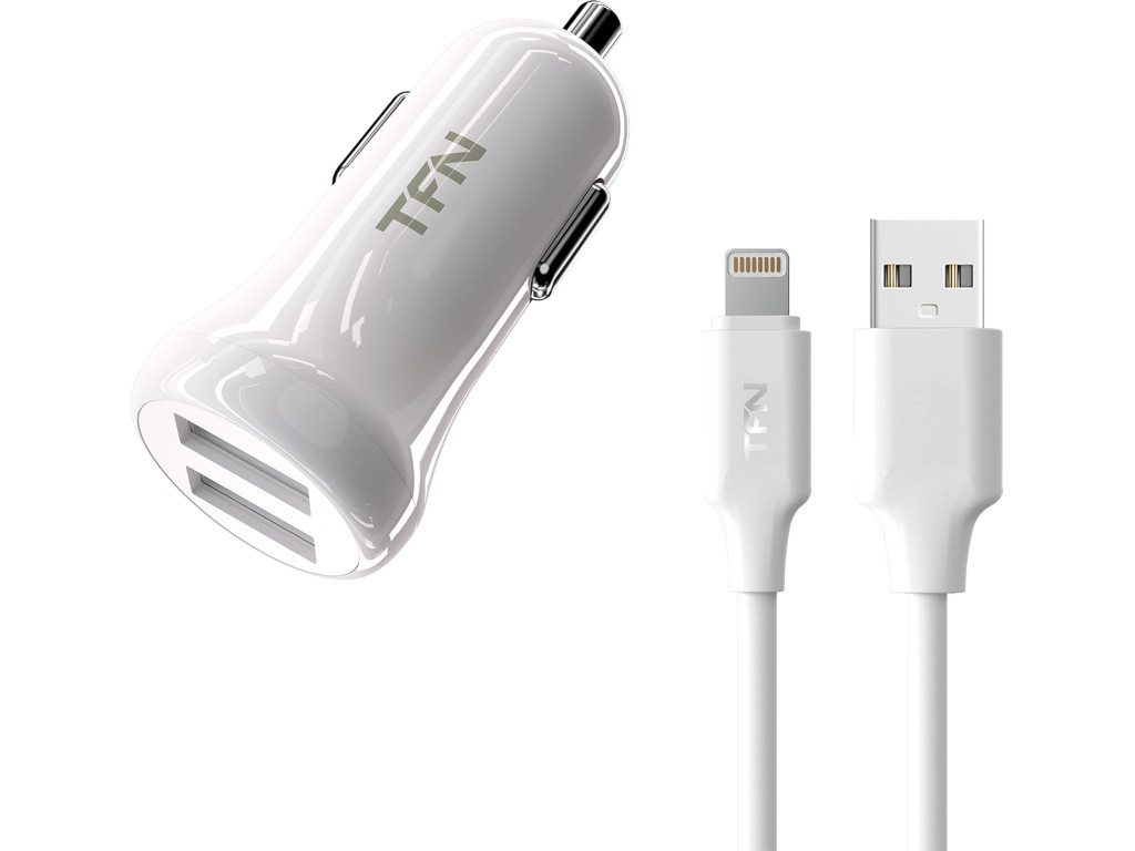 Зарядное устройство TFN 2xUSB + Lightning 2.4A White TFN-CC2U24ALIGWH