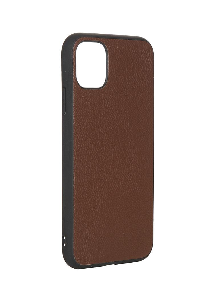 Чехол LuxCase для APPLE iPhone 11 Кожа+TPU Brown 66001