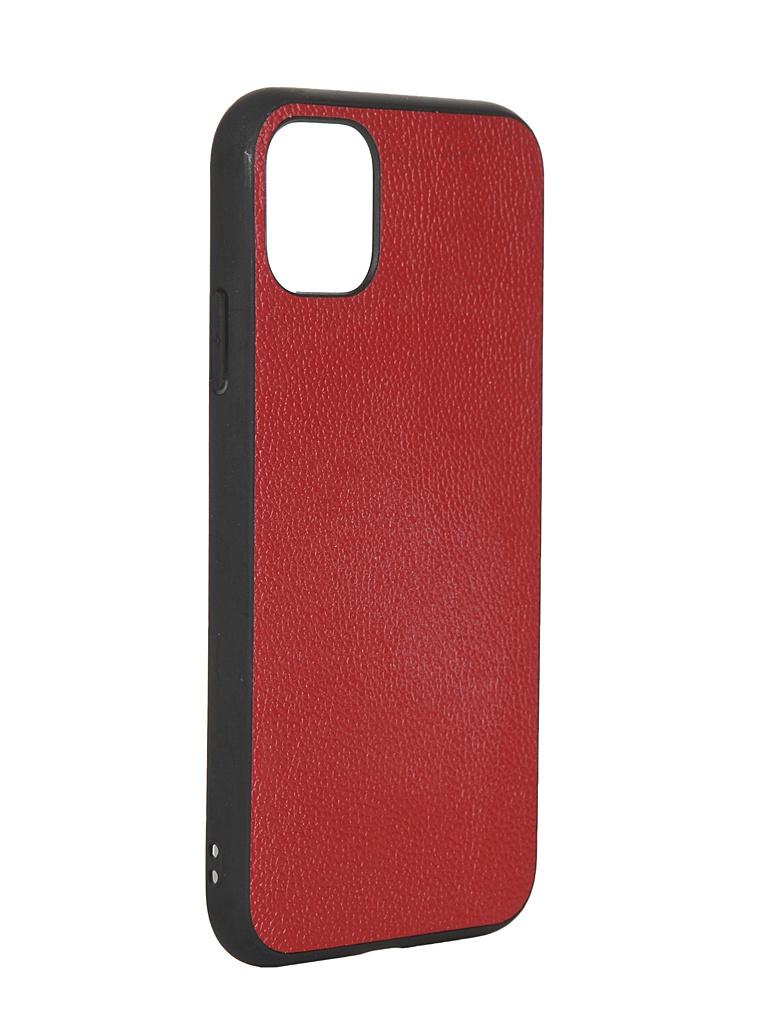 Чехол LuxCase для APPLE iPhone 11 Кожа+TPU Red 66003