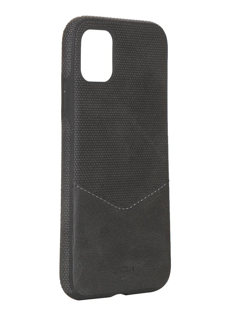 Чехол LuxCase для APPLE iPhone 11 Экокожа+TPU со строчкой Black 67002