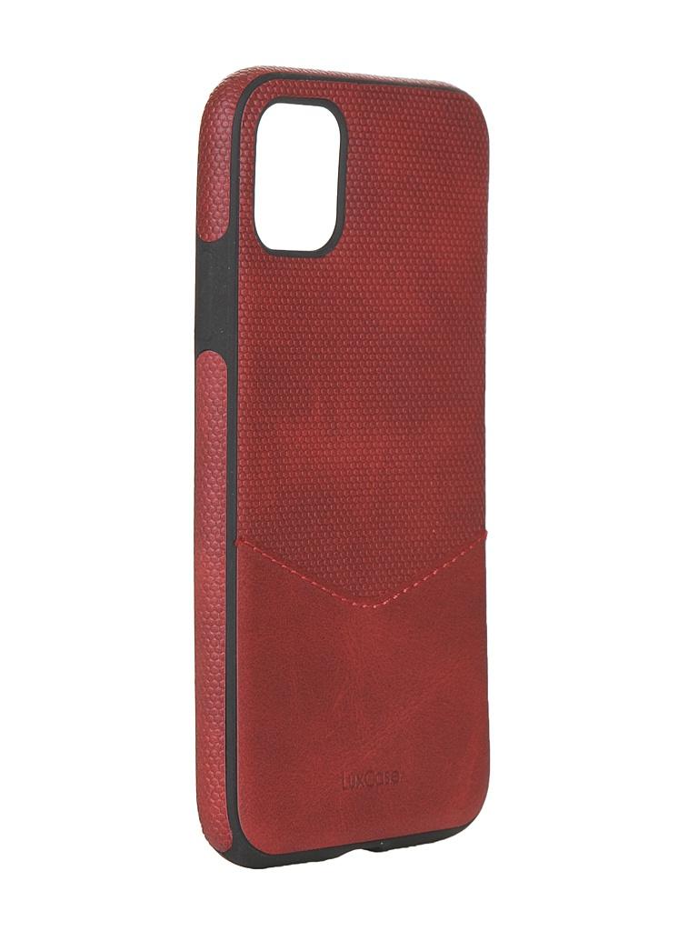 Чехол LuxCase для APPLE iPhone 11 Экокожа+TPU со строчкой Red 67001