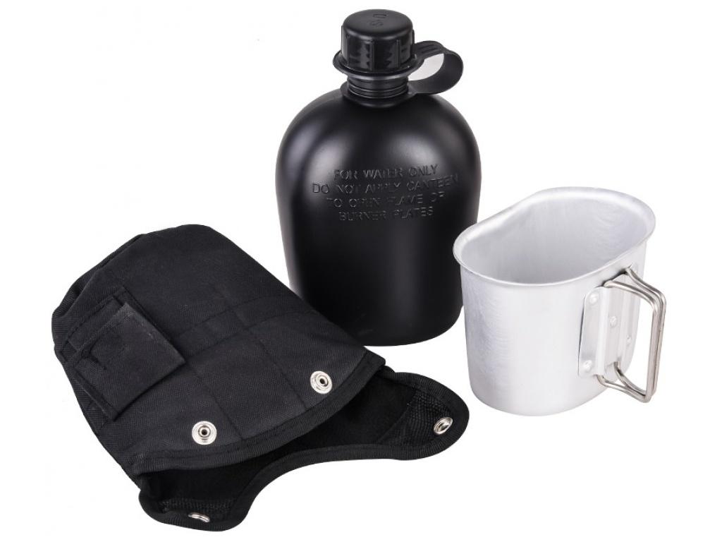 Армейская фляга Yagnob 1L пластиковая в камуфляжном чехле с алюминиевым котелком Black
