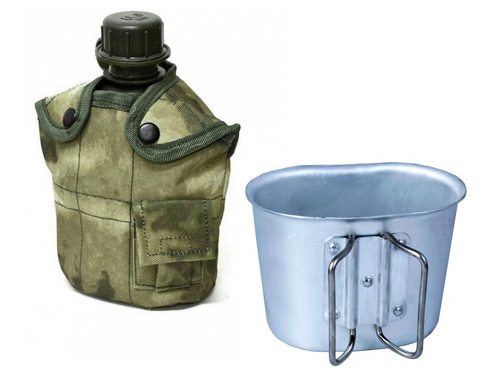 Армейская фляга Yagnob 1L пластиковая в камуфляжном чехле с алюминиевым котелком A-Tacs
