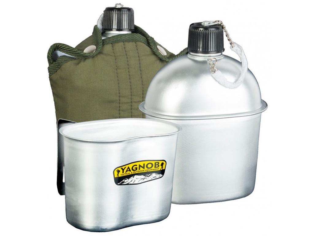 Походная фляга Yagnob 2в1 Military Flask 1L алюминиевая + походный котелок мягкий чехол