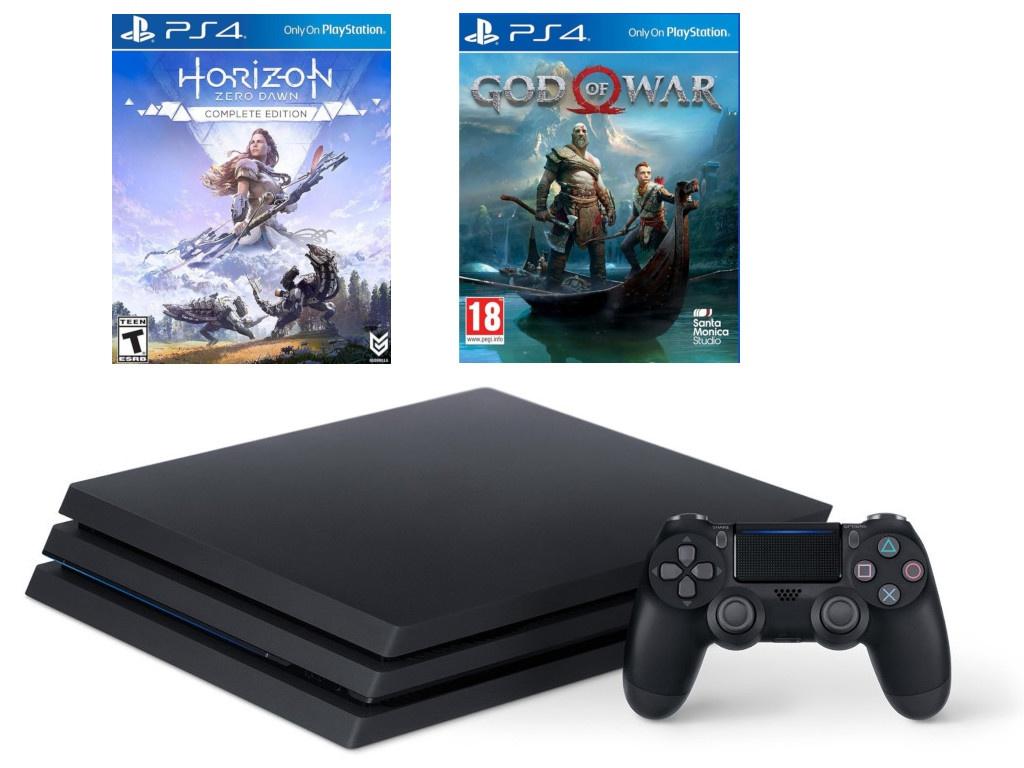 лучшая цена Игровая приставка Sony PlayStation 4 Pro 1Tb Black CUH-7208B + God of War, Horizon: Zero Dawn PS719994602