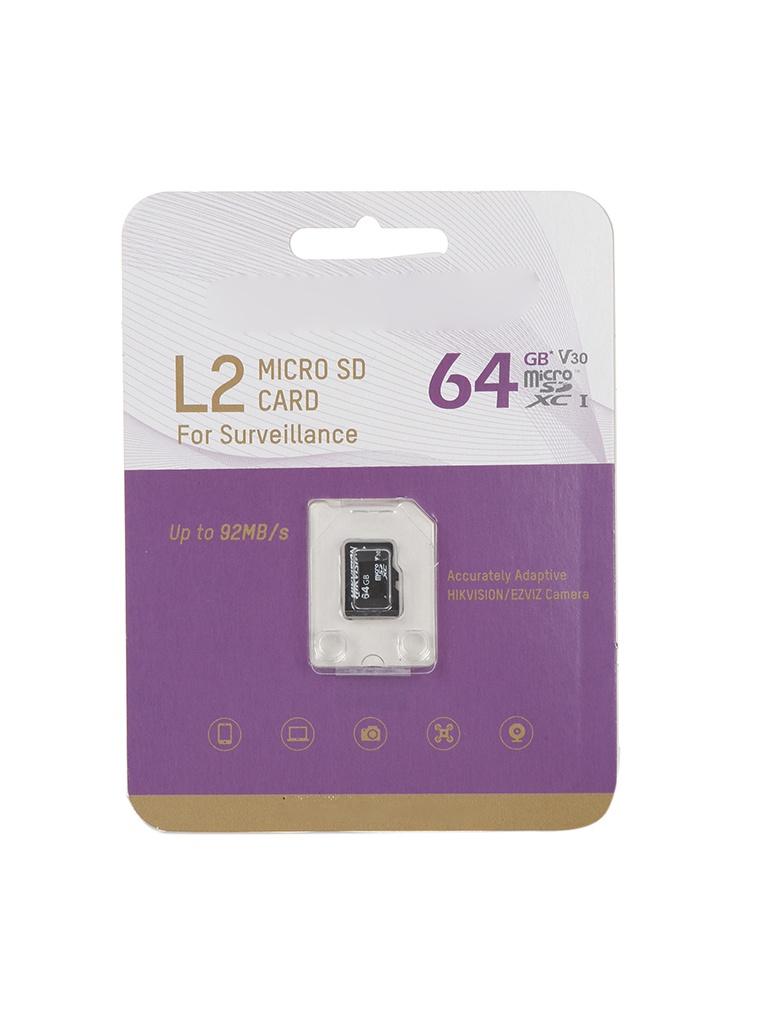 Карта памяти 64Gb - HikVision L2 Micro Secure Digital XC Class 10 UHS-I V30 HS-TF-L2/64G