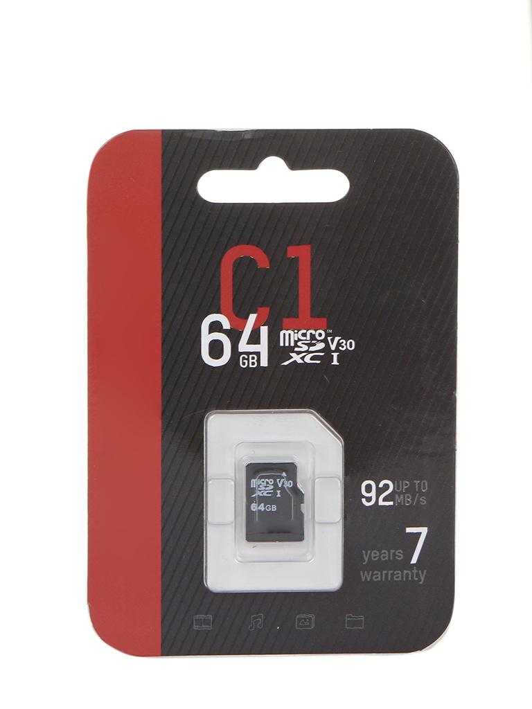 Карта памяти 64Gb - HikVision C1 Micro Secure Digital XC Class 10 UHS-I V30 HS-TF-C1/64G