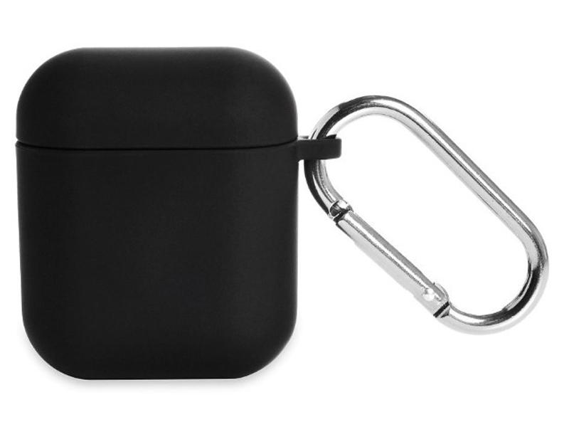 Чехол iNeez для Airpods 1/2 Soft Touch + карабин Black 909045