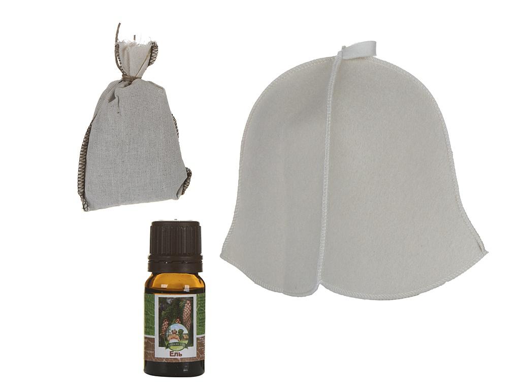 Набор для бани Бацькина баня Свежий: шапка,запарка и эфирное масло 18024