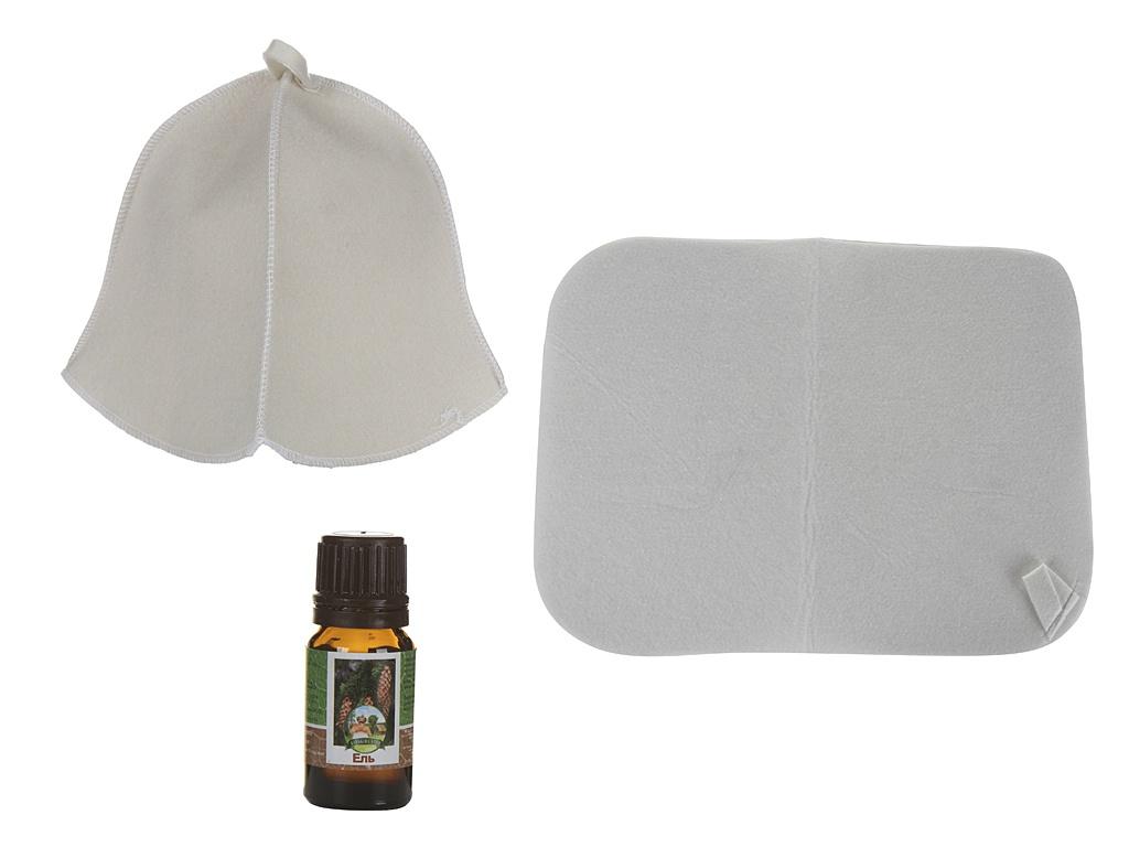 Набор для бани Бацькина баня Практичный: шапка,коврик и эфирное масло 18025