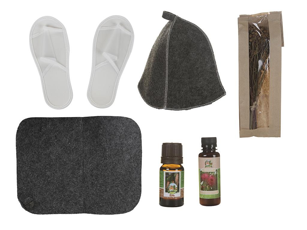 Набор для бани Бацькина баня Поддай парку!:шапка,коврик,ароматизатор и эфирное масло 18030