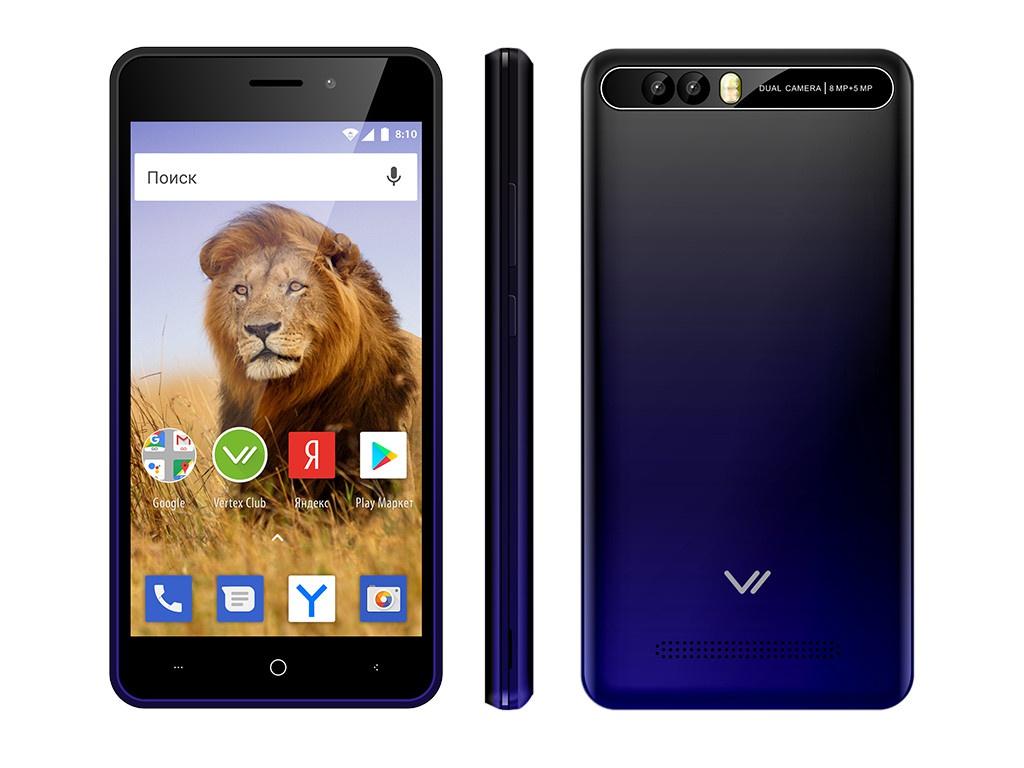 Сотовый телефон Vertex New Impress Lion Dual Cam Dark Blue