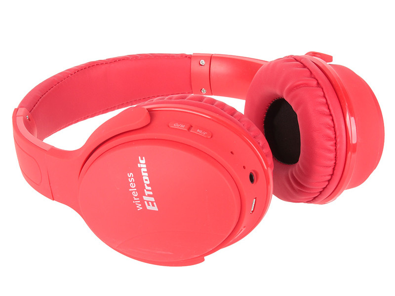 Наушники Eltronic Bluetooth/FM/Micro SD/AUX Red 4466