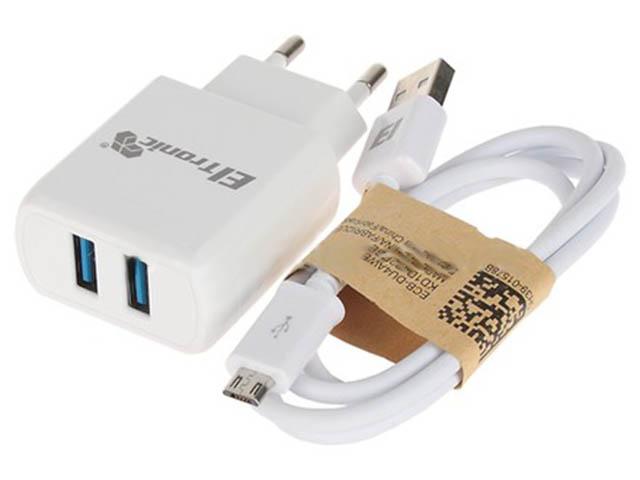 Зарядное устройство Eltronic Faster Micro USB 3.1A 2xUSB White 5654 сетевое зарядное устройство prime line 1a с кабелем micro usb черный