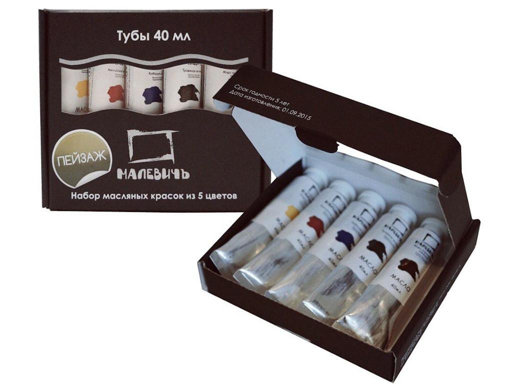 Набор с масляной краской Малевичъ Пейзаж 5 цветов по 40ml 830106