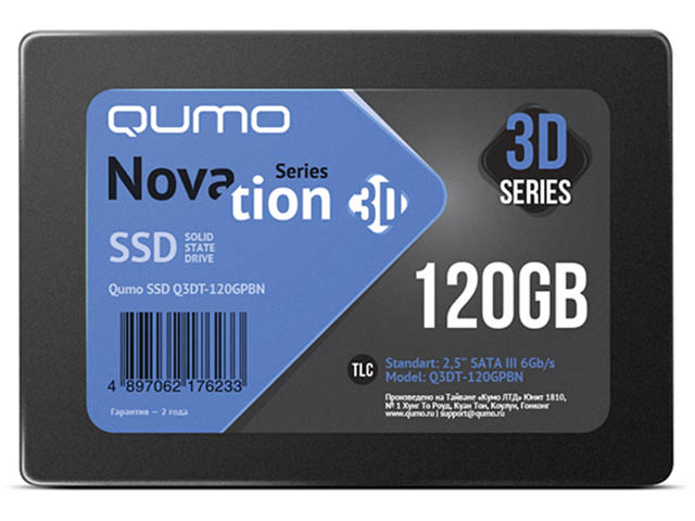 Жесткий диск Qumo Novation TLC 3D SSD 120Gb Q3DT-120GPBN ssd жесткий диск sas2 5 800gb mlc ssd1600mr 0b32261 hgst