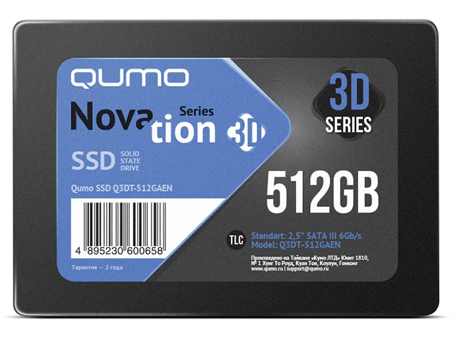 Жесткий диск Qumo Novation MLC 3D SSD 512Gb Q3DT-512GAEN ssd жесткий диск sas2 5 800gb mlc ssd1600mr 0b32261 hgst