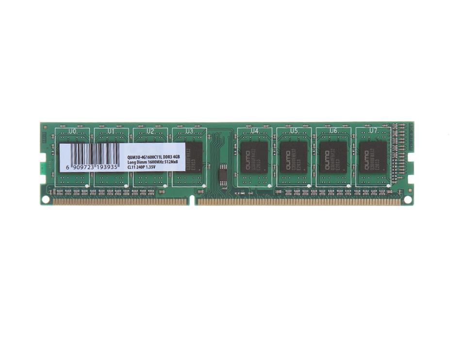 Модуль памяти Qumo DDR3 DIMM 1600MHz PC3-12800 4Gb QUM3U-4G1600C11L