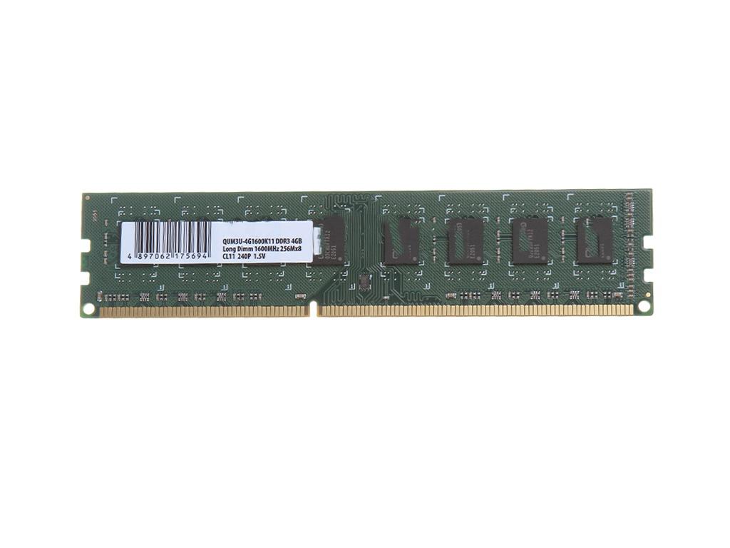 Модуль памяти Qumo DDR3 DIMM 1600MHz PC3-12800 4Gb QUM3U-4G1600K11R QUM3U-4G1600C11(R)
