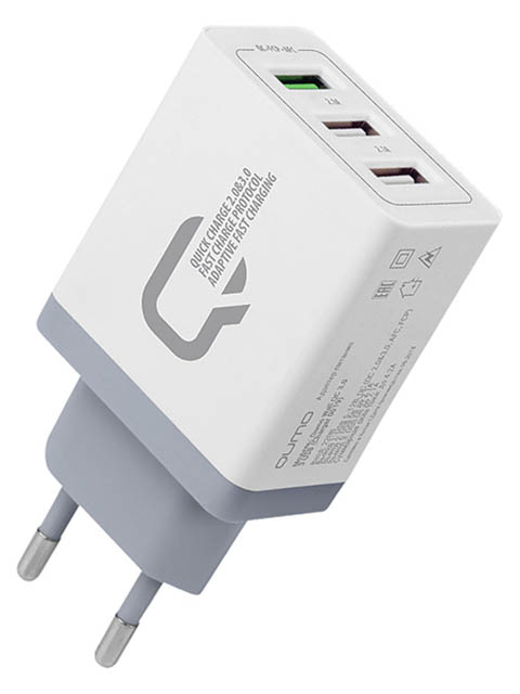 Зарядное устройство Qumo 2xUSB 2.1A + Quick Charge 3.0 Charger 019 White