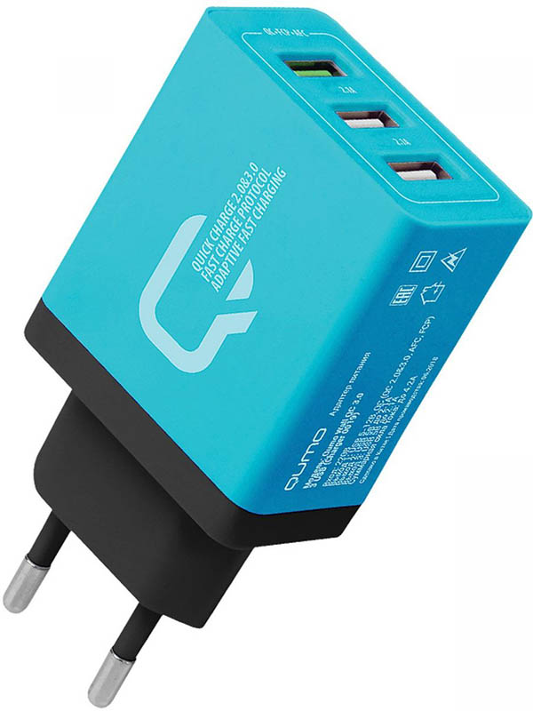Зарядное устройство Qumo 2xUSB 2.1A + Quick Charge 3.0 Charger 0019 Blue