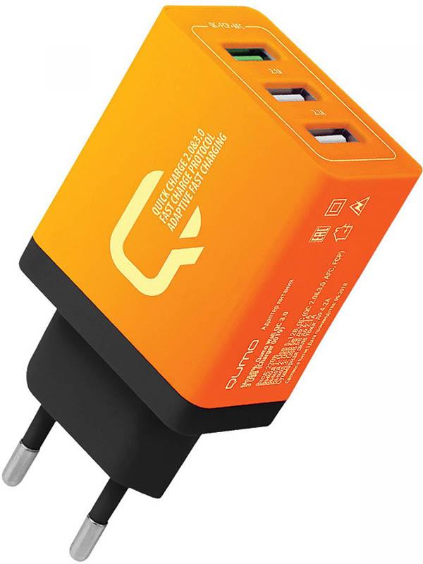 Фото - Зарядное устройство Qumo 2xUSB 2.1A + Quick Charge 3.0 Charger 0019 Orange беспроводное зарядное устройство satechi wireless charger quick charge led индикация серебряный