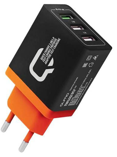 Зарядное устройство Qumo 2xUSB 2.1A + Quick Charge 3.0 Charger 0019 Black
