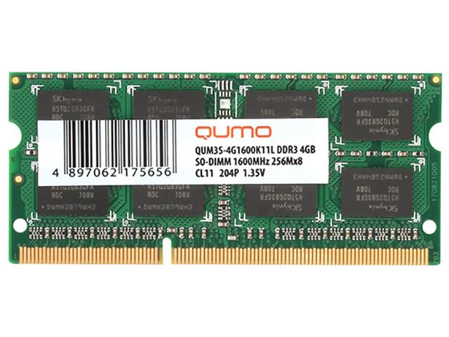 Модуль памяти Qumo DDR3 SO-DIMM 1600MHz PC-12800 CL11 - 4Gb QUM3S-4G1600K11L