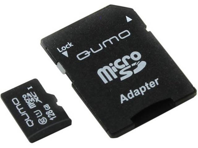 Zakazat.ru: Карта памяти 128Gb - Qumo MicroSDXC Class 10 UHS-I QM128GMICSDXC10U1 с переходником под SD