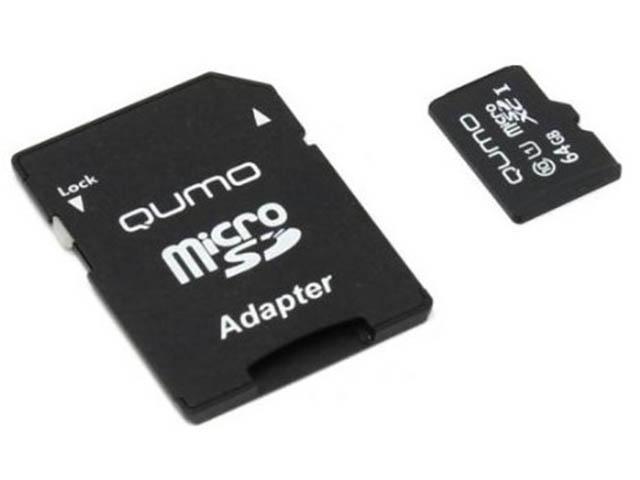 Фото - Карта памяти 64Gb - Qumo MicroSDXC UHS-I U3 Pro Seria 3.0 QM64GMICSDXC10U3 с адаптером SD карта памяти 64gb kingston microsdxc u3 uhs i v30 a1 canvas react sdcr 64gb с переходником под sd