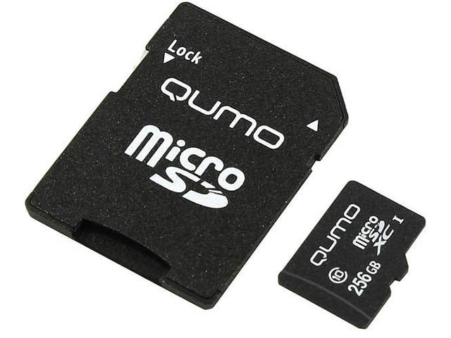 Карта памяти 256Gb - Qumo MicroSDXC UHS-I U3 Pro Seria 3.0 QM256GMICSDXC10U3 с адаптером SD