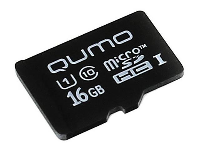 Карта памяти 16Gb - Qumo MicroSDHC Сlass 10 UHS-I 3.0 QM16GMICSDHC10U1NA