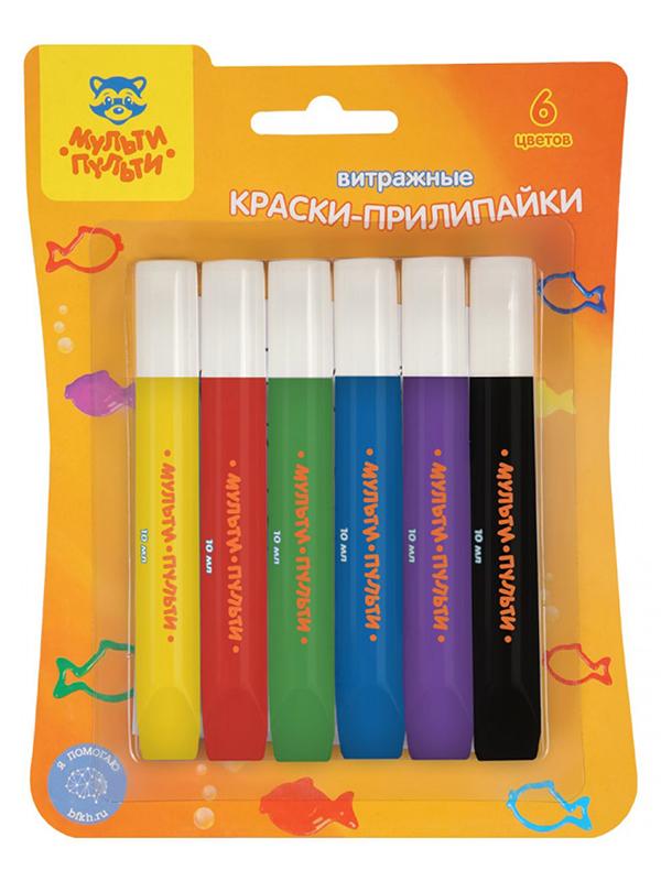 Краски витражные Мульти-Пульти Приключения Енота 6 цветов, картон WP_28373 мульти пульти ножницы детские приключения енота 13 5 см