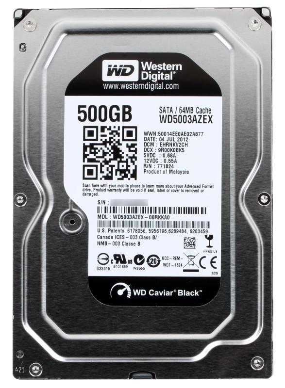 Жесткий диск 500Gb - Western Digital WD5003AZEX Caviar Black жесткий диск 500gb western digital wd5003azex caviar black