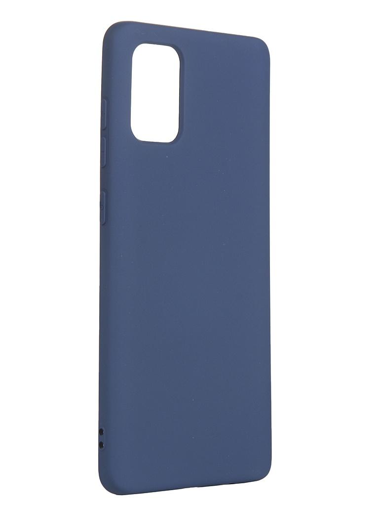 Чехол с микрофиброй DF для Samsung Galaxy A71 Silicone Blue sOriginal-08