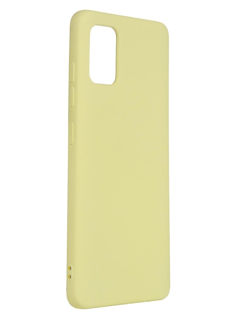 Чехол с микрофиброй DF для Samsung Galaxy A51 sOriginal-06 Silicone Yellow