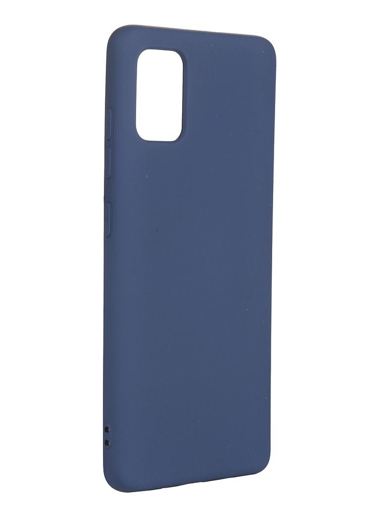 Чехол с микрофиброй DF для Samsung Galaxy A51 Silicone Blue sOriginal-06