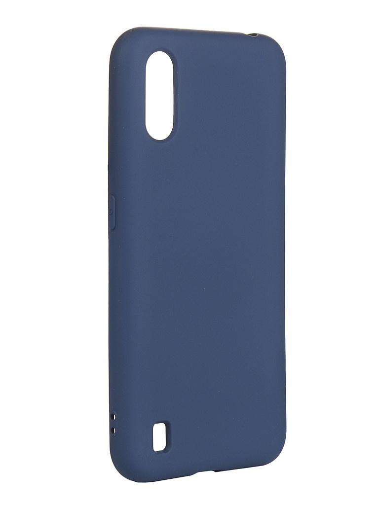 Чехол с микрофиброй DF для Samsung Galaxy A01 Silicone Blue sOriginal-07