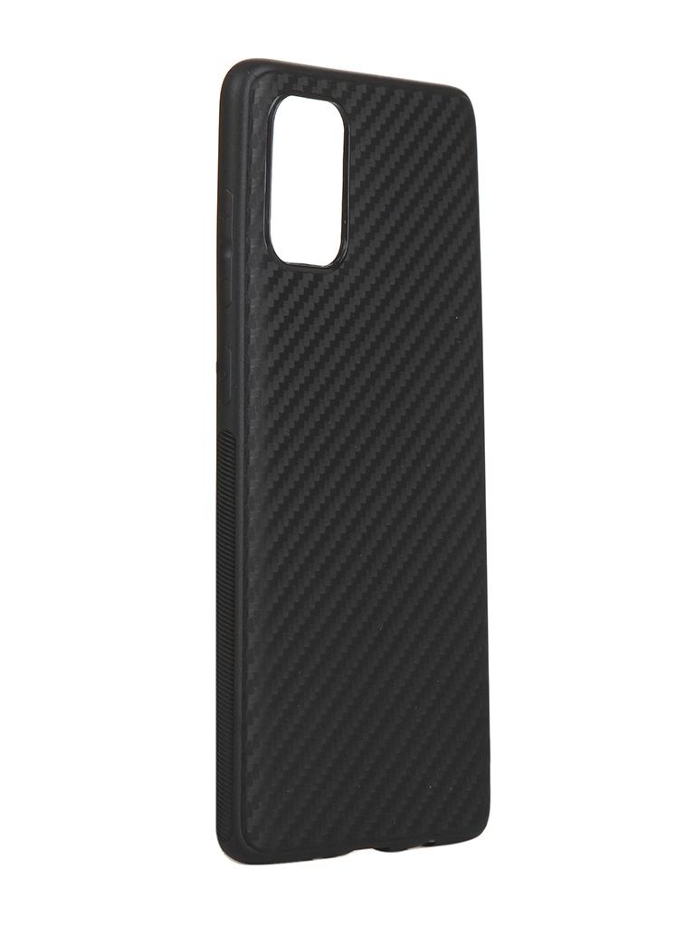 Чехол Brosco для Samsung Galaxy A71 Carbon Silicone Black SS-A71-CARBONE-BLACK