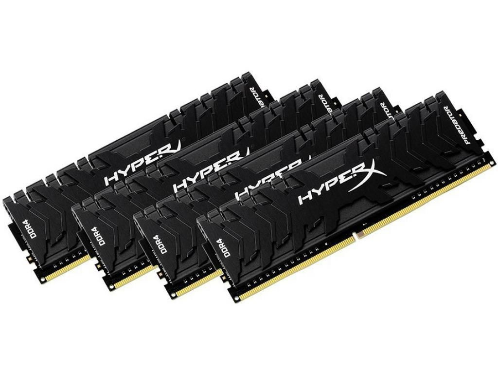 Модуль памяти Kingston HyperX Predator DDR4 DIMM 3333MHz PC4-26600 CL16 - 64Gb KIT (4x16Gb) HX433C16PB3K4/64
