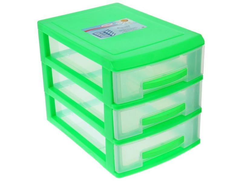 Мини-комод Росспласт 3 яруса Light Green-Transparent
