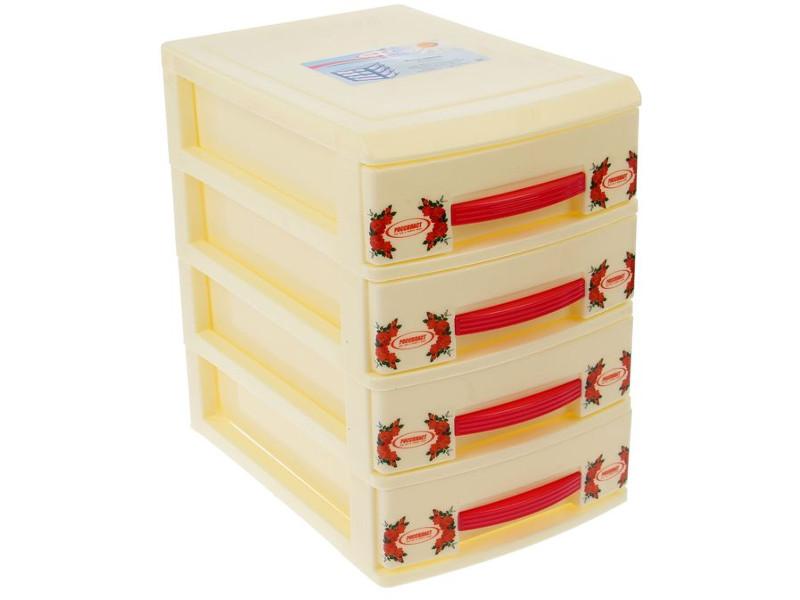 Мини-комод Росспласт 4 яруса Cream