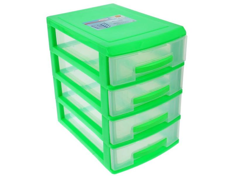 Мини-комод Росспласт 4 яруса Light Green-Transparent