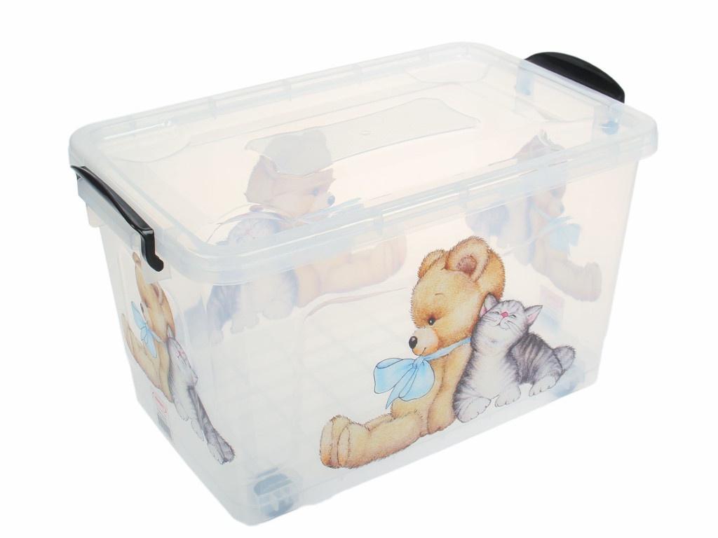 Контейнер для хранения Росспласт 35L Мишка и Котёнок Transparent