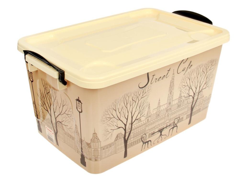 Контейнер для хранения Росспласт 35L Уличное кафе Ivory