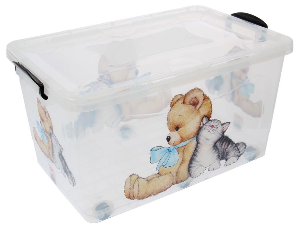 Контейнер для хранения Росспласт 50L Мишка и Котёнок Transparent