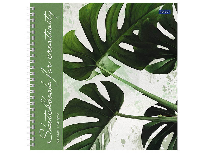Скетчбук Hatber Тропические листья 210x210mm 60 листов 60Тт4Aгр_22267